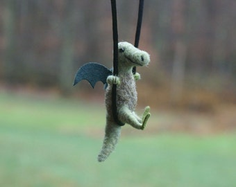Tiny Dragon Necklace / sculpture - needle felted