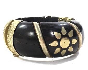 70s Indian Tribal Bracelet Vintage Big Repousse Brass Inlay Bone or Wood Hinged Bangle Hippie Boho Ethnic Bohemian Gypsy Statement Jewelry