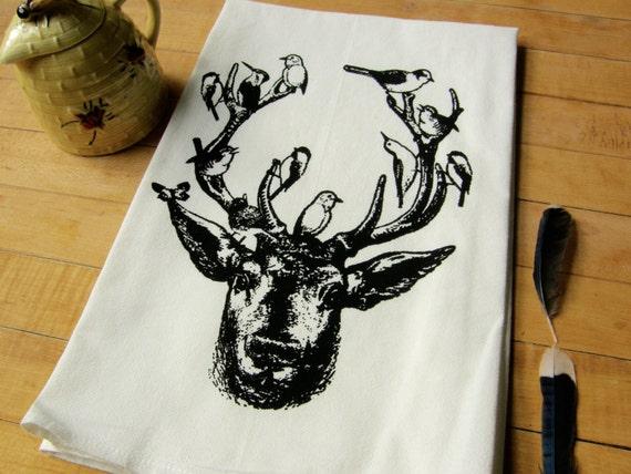 Deer & Birds Dish Towel, Soft Cotton Flour Sack Hand Printed Tea Towel, Black, Turquoise Blue, Leaf Green Ink, Hostess Gift