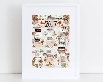 2017 Calendar A4 print 21 x 30 cm from my gouache & watercolor illustration