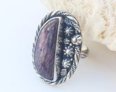Purple Charoite Ring, Size 8 1/4 Sterling Silver, Artisan Metalsmith, Flowers and Leaves Floral Ring, Silversmith Large Stone Ring