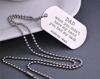 Father's Day Gift, Custom Dog Tag Necklace for Dad, Personalized Necklace for Dad, When you didn't have my hand you had my back