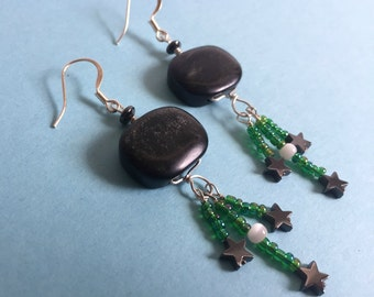Black Star Earrings - Obsidian and Hematite - Falling Star Handmade Sterling Silver Dangle Earrings