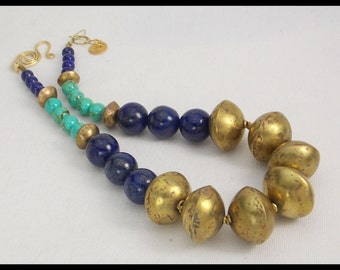 QUEEN - Old Handmade African Brass Beads - Lapis & Tibetan Turquoise Dramatic Statement Necklace