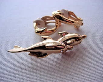 Lovely Vintage Dolphin Earrings and Brooch
