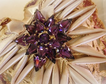 vintage amethyst rhinestone star brooch mid century beauty layered amethyst pears prong set rhinestones