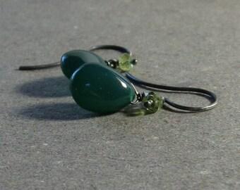 Green Onyx Earrings Peridot Dangle Oxidized Sterling Silver Earrings