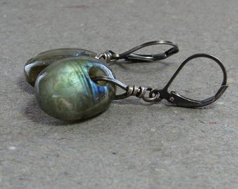 Labradorite Earrings Blue Flash Leverback Oxidized Sterling Silver Large Gemstones Lever Back Gift for Her