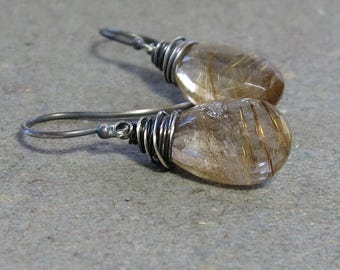 Gold Rutilated Quartz Earrings Oxidized Wire Wrapped Sterling Silver Earrings Gift for Her