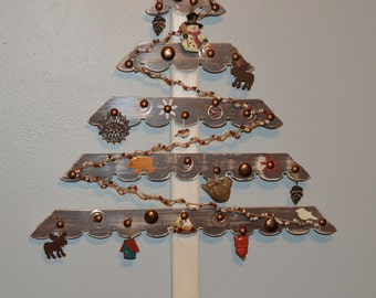 Rustic Wood Christmas Tree Primitive Brown and Cream