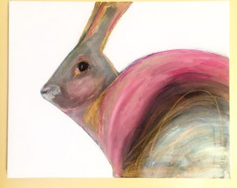 rabbit rainbow painting