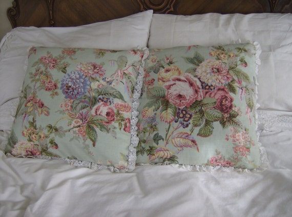 Lace Throw Pillow Covers : Floral Decorative Pillow Covers Lace Edged Pillow Covers