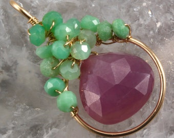 Pink Sapphire & Chrysoprase  Wire Wrapped Pendant