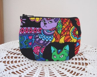 Coin Business Card Clutch Zipper Case Groovy Colorful cats
