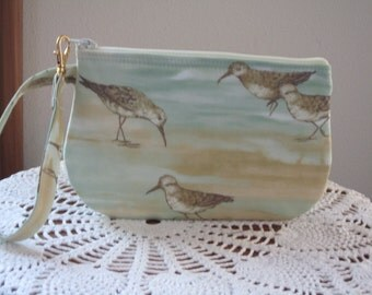 Wristlet Zipper Gadget Purse Pouch in Seaside Cottage Shorebirds made in the USA Smart Phone bag