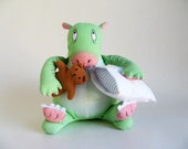Vintage Dennis Dragon stuffed animal from The Monster Bed little brown teddy bear white pillow Green Pink Determined Productions 1980s Toy