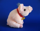 Vintage Small Babe Pig Stuffed Animal 1995 Movie based on the book by Dick King Smith 1990s Toy Piglet Collar Pink Curly Tail Farm Animal