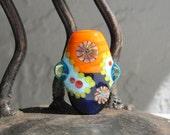 Purple & orange murrini bead- lampwork focal bead- SRA- Lisa New