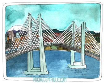 Art - Tilikum Bridge Art - Portland Bridge Art - Bridge Art -Portland Oregon Art - Portland Illustration - Portland Print - Tilikum Crossing