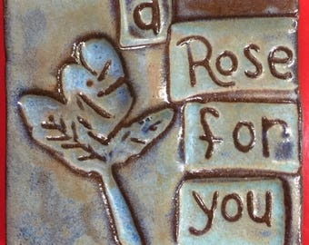 A rose for you handmade earthenware tile by tilesmile