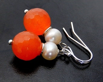 Orange Pearl Earrings, Sterling Silver, Tangerine Jade Dangles, Burnt Orange Drops