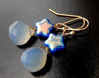 Blue Star Earrings, Chalcedony Drops, Gold Gem Earrings