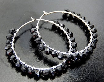 Spinel Hoop Earrings, Black Wire Wrapped Hoops, Beaded Sterling Silver Gemstone Earrings