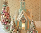 SPECIAL ORDER for JOCELYN   - Putz Grand Cathedral,  Shabby Aqua, Lighted, Bottle Brush Trees