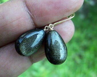 Gold Obsidian pinned with 14K solid gold earwire,earrings