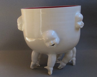 Standing Bowl w/Hands and Faces, ready to ship