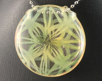 Glass Pendant Bead Flower Of Life Silver Fume Double Sided Reversible (13) - Dan Rushin