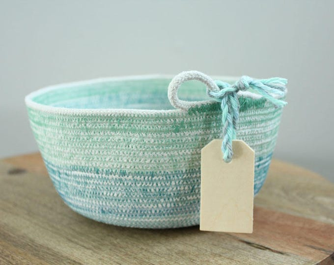 Basket rope coil teal turquoise thread stripe bin storage organizer bowl wooden tag by PETUNIAS