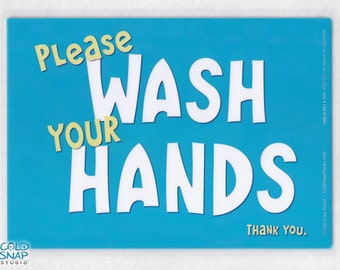 """Wash Your Hands 5"""" x 7"""" Laminated Sign, Turquoise Blue, SALE!"""