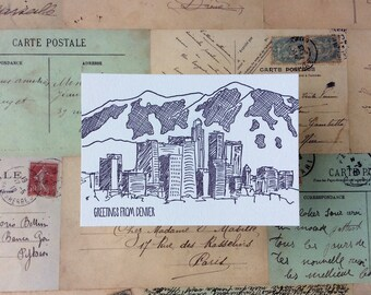 Denver - five letterpress postcards