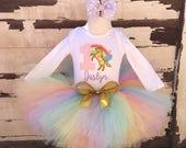Pastel Unicorn Rainbow 1st Birthday Tutu Outfit- Personalized Baby Girl