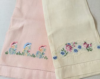 2 Shabby chic embroidered linen hand towels