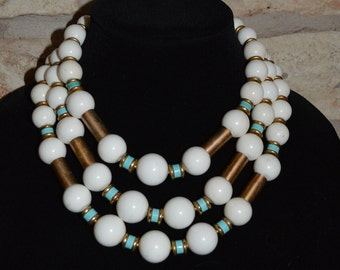 BIG AND BOLD - Vintage 1970s Multi-Strand White Turquoise and Gold Beads Necklace