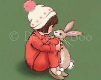 Nursery Print, girl and bunny, Bobble hats and Bob tails