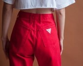 GUESS red high waist baggy jeans / tapered denim / vtg 80s mom jeans / 27 w / 2125t / B10
