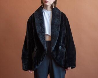 black faux fur coat / oversized short coat / vintage 80s wrap coat / s / m / 2156o / R5