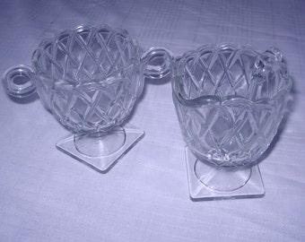 Indiana Glass No. 622 Pretzel sugar and creamer