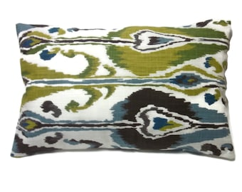 Decorative Lumbar Pillow Cover Blue Green Brown Chartreuse Natural Ikat Design toss Throw Accent 12x18 inch  x
