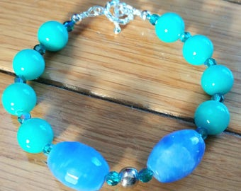 Blue and Green Glass Bracelet