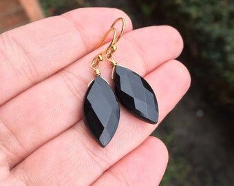 Onyx faceted marquis earrings in gold fill