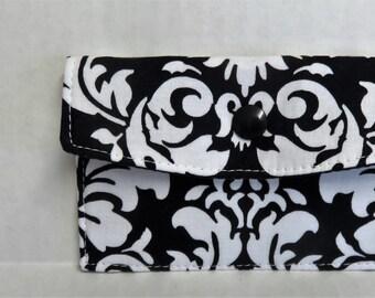 Mini Wallet - Gift Card Holder - Debit Credit Card Case -  Business Card Case  - Snap Closure - Black White Damask Fabric