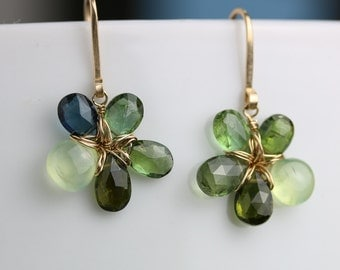 Green Tourmaline and Prehnite Flower Earrings