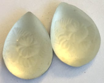VIntage stones (2)  frosted glass 18 x 13  pear matte crystal carved floral  teardrop  West German rhinestone (2)