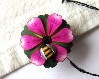 Pink Flower with a Bumble Bee Needle Minder, Magnetic Needle Nanny Handcrafted from Claybykim