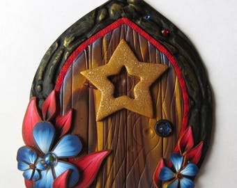 Independence Day Star Fairy Door 4th of July Decor Red white and Blue Miniature Door for Fairy Garden or Home