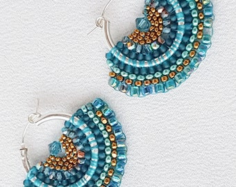 Mariposa - Teal and Bronze Beadwoven Butterfly Wing Earrings